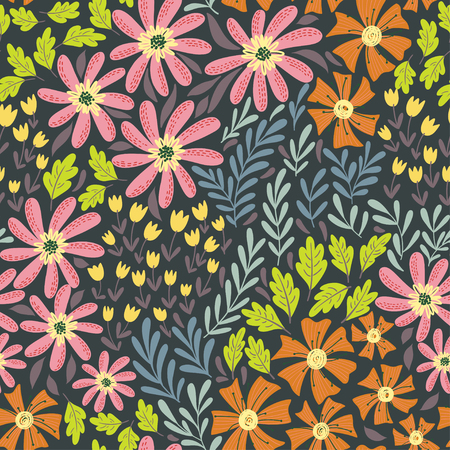 Hand drawn seamless floral pattern with cute flowers. Best for wallpaper,pattern fills,web page background,surface, textures