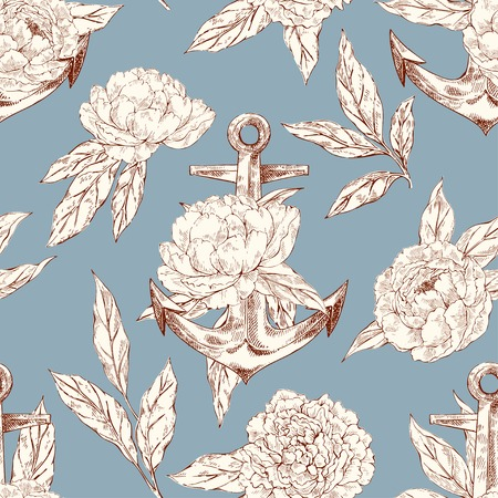 Vector hand drawn seamless pattern with anchor and peones in vintage style. Ink sketch drawing. Decorative backdrop with flowers.