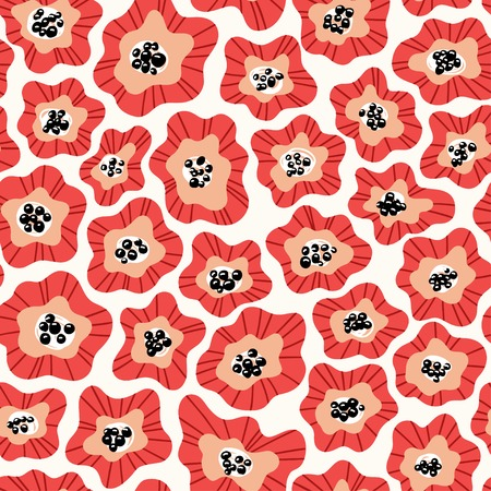 Flowers hand drawn seamless color pattern. Folk blooming retro background. Simple poppy blossom naive backdrop. Red and white floral flat drawing. Abstract wrapping paper, wallpaper vector design