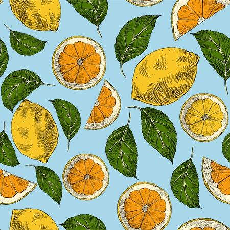 Lemons hand drawn retro vector seamless pattern. Citrus slices fruits engraving style color backdrop. Ink brush, pen drawing. Vintage leaves, flowers background. Wrapping paper, wallpaper design Ilustracja