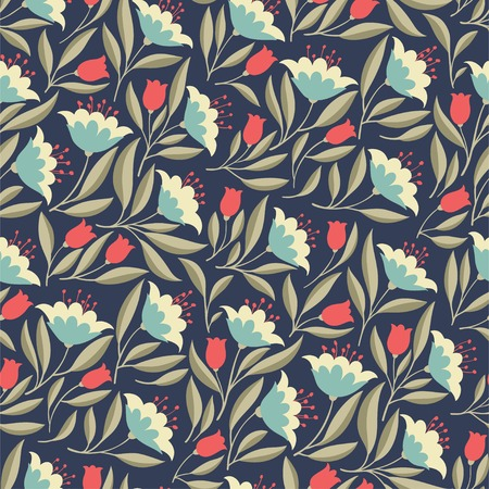 Hand drawn seamless pattern with folk colorful flowers. Cute vintage vector background for textile, fabrick, backdrops, web