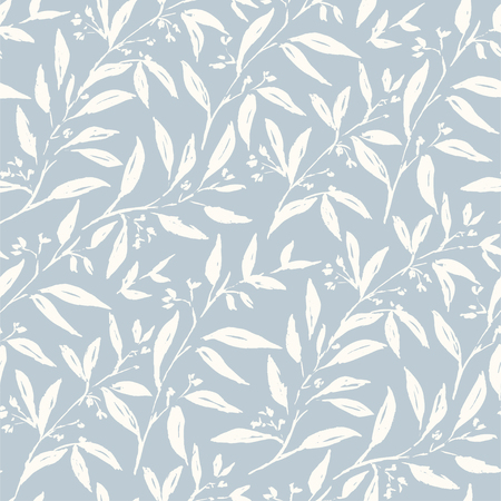 Spring plants flower and leaves hand drawn seamless pattern. Sketch drawing. Dry brushstroke background in pastel colors. Ink brush, pen illustration. Wrapping paper, wallpaper design