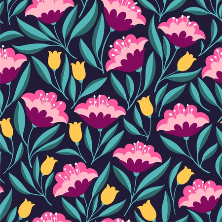 Hand drawn seamless pattern with folk colorful flowers. Cute bright vector background for textile, fabric, backdrops, web