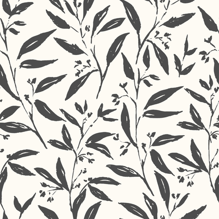 Spring plants flower and leaves hand drawn seamless pattern. Sketch drawing. Dry brushstroke background. Ink brush, pen illustration. Wrapping paper, wallpaper design Ilustracja
