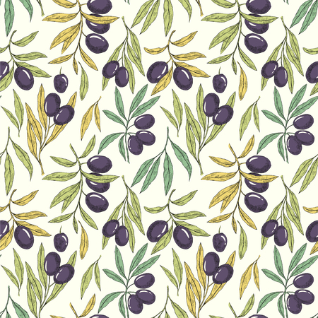 Seamless hand drawn pattern with olive tree branches. Eco botanical background