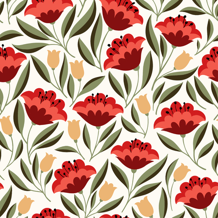 Hand drawn seamless pattern with folk colorful flowers. Cute vector background for textile, fabric, backdrops, web Ilustracja