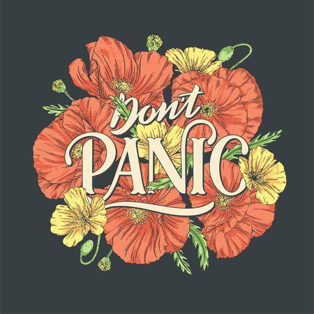 Don't Panic Schriftzug Illustration