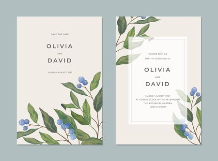 Card template with blue berries Illustration