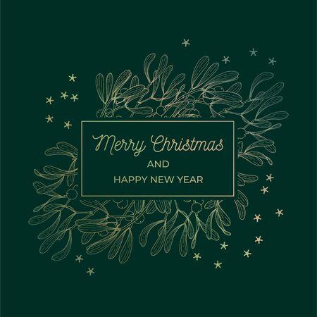 Mistletoe greeting card gold frame