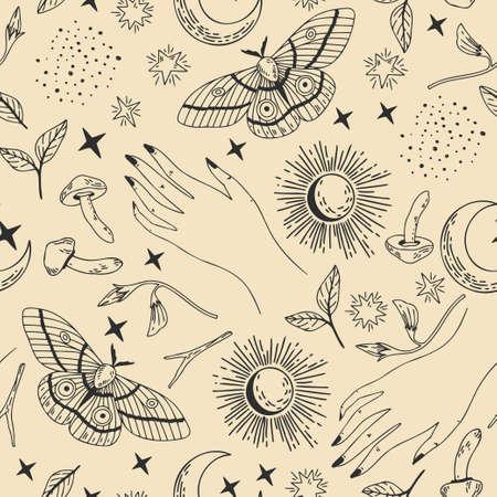 Seamless esoteric pattern Vektoros illusztráció