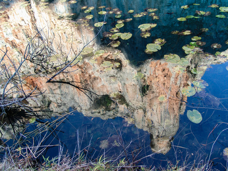 lily pads: Mound Reflected in lake with lily pads. Stock Photo