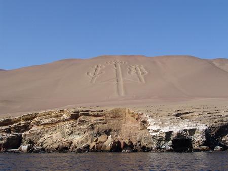 candelabra: Paracas Candelabra, Paracas Candelabra, geoglifo in Paracas Peninsula, Pisco, Peru