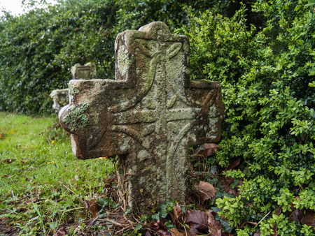 rood: Old tombstone in cemetery French Basque country.