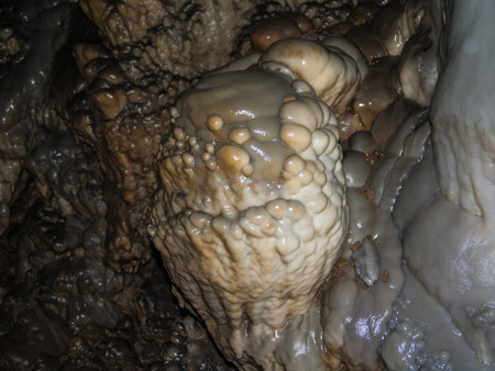 stalactites: Stalactites, stalagmites, flowstone and other formations in a cave. France