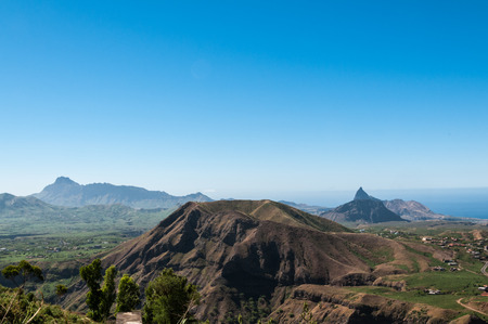 Landscape of the island of Santiago, the bottom right peak Antonia, Cape Verde