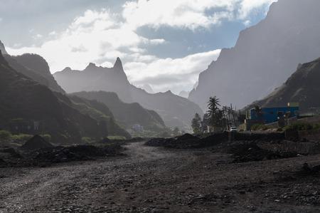 torrential: Road destroyed after torrential rains in Santo Antao, Cape Verde.