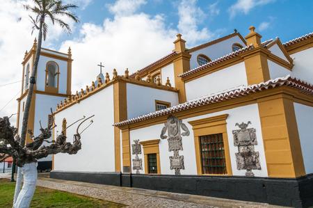 vitoria: Main Church of Santa Cruz in Praia da Vitoria, Terceira, Azores, Portugal. Stock Photo