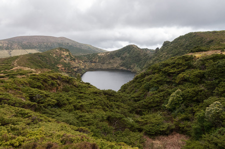 rasa: Lagoon caldeira rasa on the island of Flores, Azores, Portugal. Stock Photo