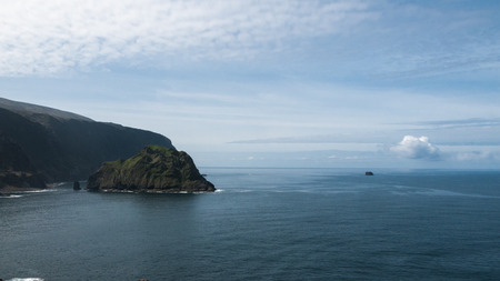 monchique: Islet Maria Vaz and the bottom right islet Monchique, Flores island, Azores, Portugal