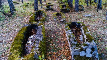tumbas: Altas tumbas antropomórficas medievales en Soria, España
