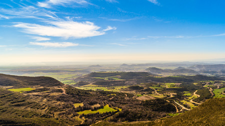 knoll: Hoya de Huesca View from the Sierra de Loarre Aragon Spain. Stock Photo