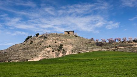 romanesque: Small Romanesque chapel of the twelfth century in the Hoya de Huesca close to the Sierra de Loarre Aragon Spain.