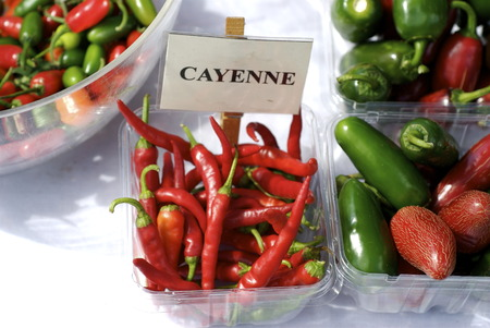 Farmers market: cayenne & jalapeno peppers