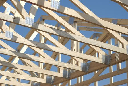 rafter: New home construction:  roof rafters