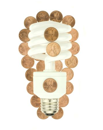 An energy efficient compact florescent light bulb surrounded by pennies of savings. Фото со стока