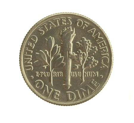 U. S. dime isolated on white background.