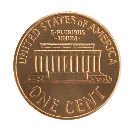 penny: U. S. penny isolated on white background. Stock Photo