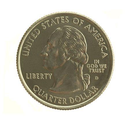U. S. quarter dollar isolated on white back ground.