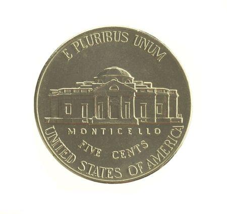 U. S. nickel isolated on white background.