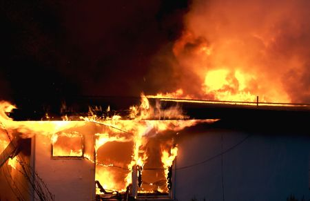 heat loss: Old Building Engulfed in Flames
