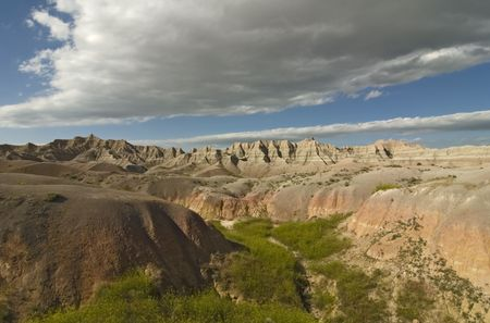 Scenic wide-angle view of The Badlands National Park in South Dakota. Best viewed at normal size. photo