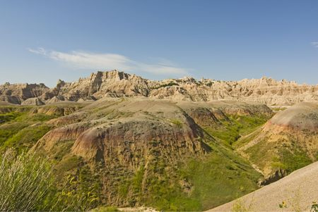 stratification: Scenic wide-angle view of The Badlands National Park in South Dakota. Best viewed at normal size.