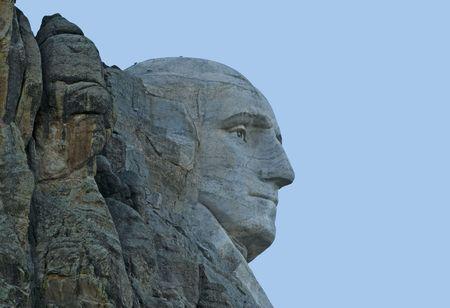 'mt rushmore': Closeup image of side view of George Washington at Mt Rushmore National Memorial.