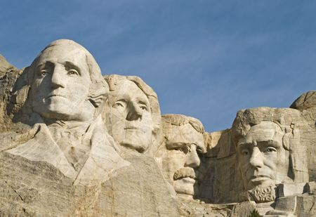 Closeup image of Mt Rushmore showing sculpture details.