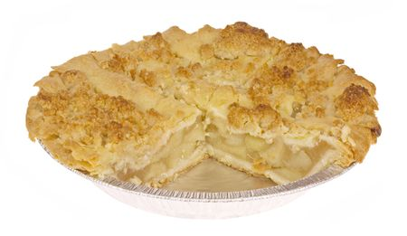 Close up image of an Apple Crumb Pie.