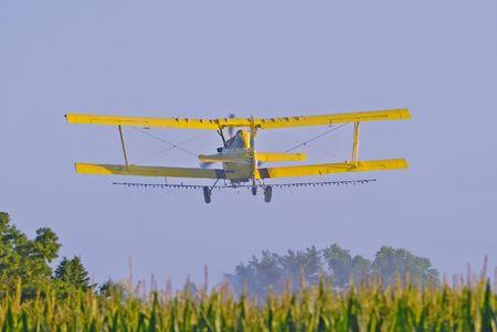 iowa: Image of aerial crop duster spraying corn field in rural Iowa.