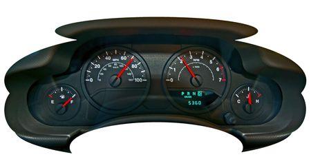 Afbeelding van de snelheidsmeter en meters in auto dashboard met automatische snelheid en motor rpm.