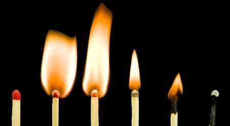 Progressive stages of burning matchsticks.  Concept:  We will all burnout sometime.