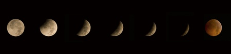 solstice: Image showing seven stages of the winter solstice lunar eclipse of 12212010. Stock Photo