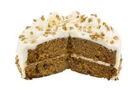 Image of carrot cake isolated on white back ground.