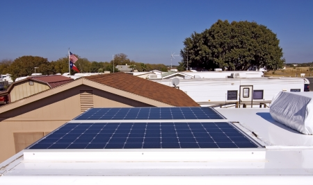 Wide angle view of solar panels used to power a RV.