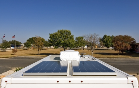 Wide angle view of solar panels used to power a RV. photo