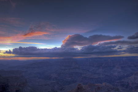 south rim: Wide Angle view of Grand Canyon South Rim at Sunset.