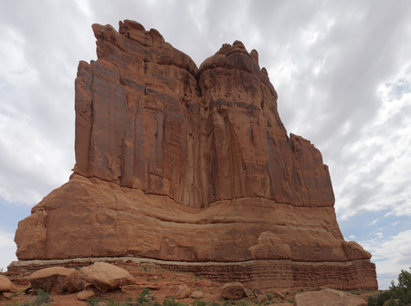 arches national park: Courthouse Towers, Arches National Park, Utah USA.