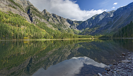 Glacier National Park: Panoramic View of Avalanche Lake and Surrounding Mountains Reflecting off Lake Surface, Glacier National Park, Montana.