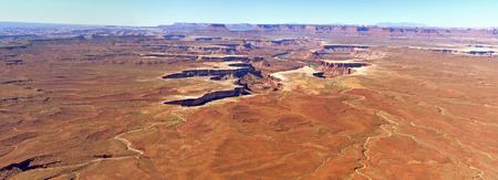 overlook: Panorama Landscape View from Green River Overlook, Canyonlands National Park, Utah. Stock Photo